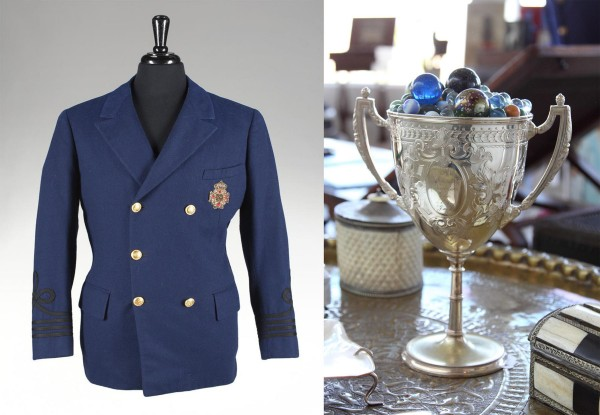 "The yachtsman's blazer from the film ""Some Like it Hot"" (est. $10,000-$15,000) and ""The Great Race"" trophy cup (est. $400-$600) are from the estate of Tony Curtis, to sell this month at Julien's Auctions."