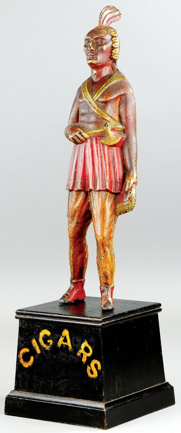 The cast iron cigar store Indian sold for $9,775 recently at Bertoia Auctions in New Jersey.