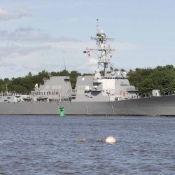 The USS Spruance, DDG-111, departs Bath Iron Works Thursday and makes its way down the Kennebec River to the sea.