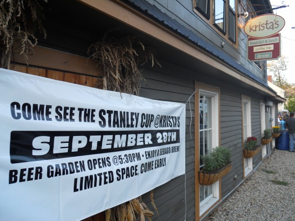 A sign promotes Wednesday night's arrival of the Stanley Cup at Krista's restaurant in Cornish.
