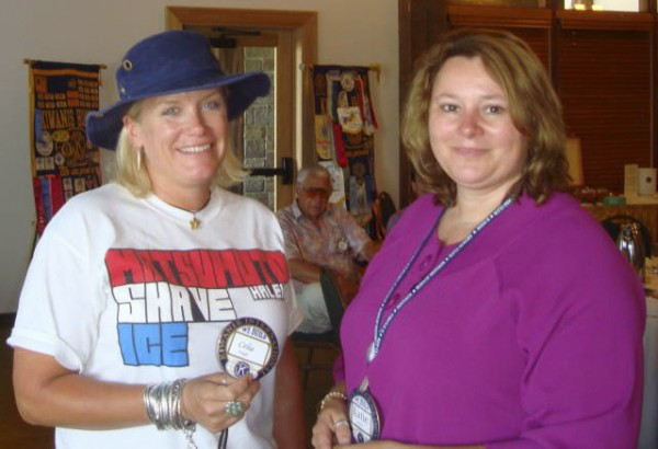 Rockland Kiwanis membership chairwoman Katie Tarbox (right) presents a permanent member badge to Kiwanis member Celia Knight at the weekly meeting on Aug. 22. Members of the Kiwanis Club of Rockland must complete a series of benchmarks as part of their induction into the club.
