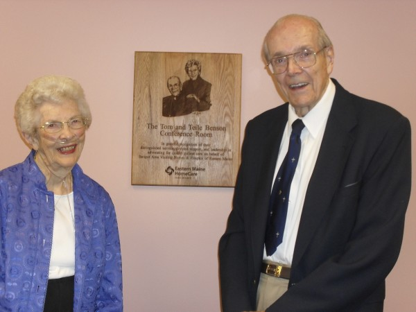 The Rev. Tom Benson (right) and wife Teile Benson were honored on Sept. 14 with the renaming of the Medical Office Building Conference Room to the Tom and Teile Benson Conference Room at Bangor Visiting Nurses/Hospice of Eastern Maine on Union Street, Bangor.