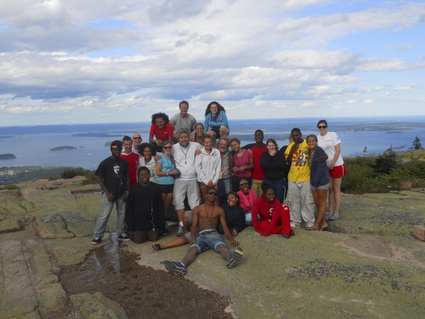 Maine and Urban Trekkers students and mentors pose atop Cadillac Mountain in Acadia National Park on Mount Desert Island recently.