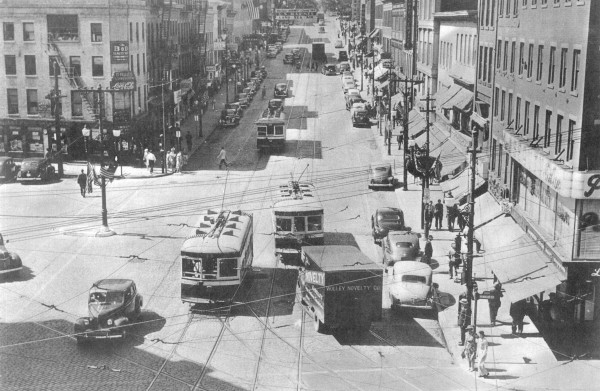 Three Bangor trolleys move down Main Street in the 1940s in this photo Lee Mathews received from his daughter, Sally.