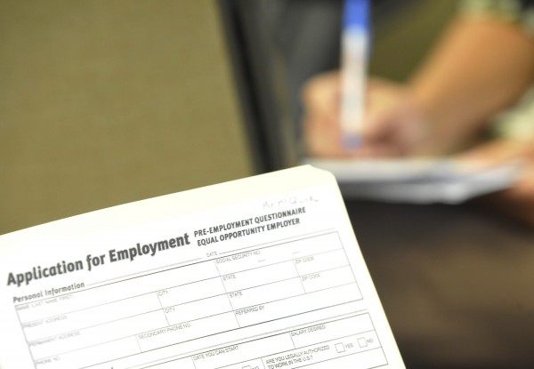 An employment application at the Tri-County Career center in Bangor Wednesday afternoon, Sept. 22, 2011.