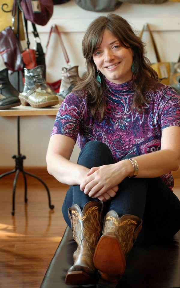 Summer Allen sits in her newly opened shop, Valentine Footwear on Main Street in Bangor, on Wednesday, Sept. 14. Allen is a second generation shoe retailer. Her father owns Winterport Boot in Brewer.