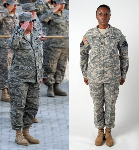 Female soldiers take part in a ceremony honoring women who served in the military, left. The female-only Army combat uniform under development, right, features more room in the hips and legs, re-positioned rank and nametapes, and a more tailored jacket.