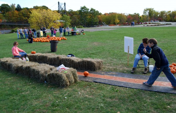 Pumpkin bowling in Waterville.