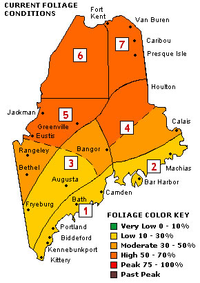 Northern Half Of Maine Now Has Moderate To High Foliage Color