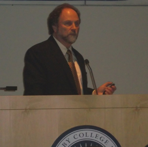 Professor Bruce Blumberg of Developmental & Cell Biology School of Biological Sciences at the University of California-Irvine, speaks at the &quotChemicals, Obesity and Diabetes: How Science Leads Us to Action,&quot conference at Colby College on Friday.