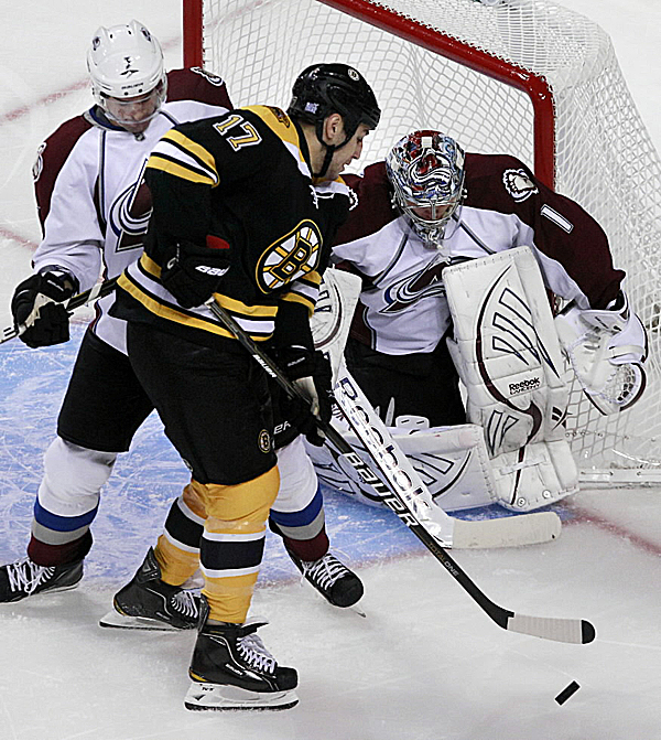 Boston Bruins left wing Milan Lucic (17) is tied up by Colorado's Ryan O'Byrne during the first period of their NHL game at the TD Garden in Boston Monday. Avalanche goalie Semyon Varlamov made 30 saves as Colorado triumphed 1-0.