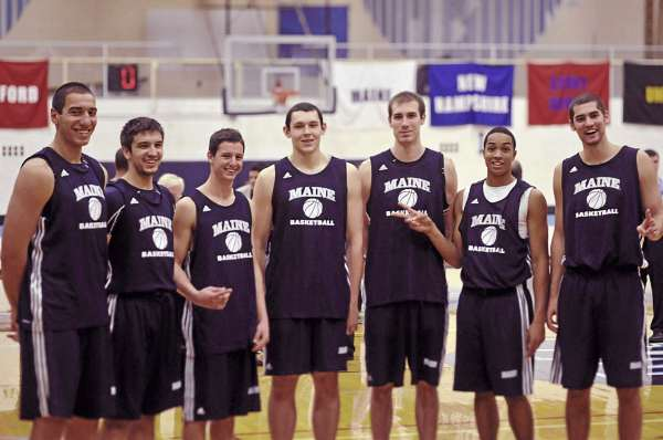This year's University of Maine men's basketball team features a group of seven international players from six different countries. They are (from left) Svetoslav Chetinov of Bulgaria, Zarko Valjarevic of Serbia, Noam Laish of Israel, Alasdair Fraser of Scotland, Mike Allison and Justin Edwards of Canada and Kilian Cato of Finland.