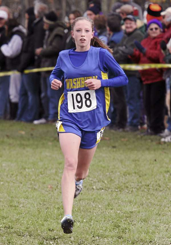 Carsyn Koch, of Washburn High School approaches the finish line Saturday, Oct. 29, 2011 during the State Class C Cross Country Championships at Twin Brooks Recreation Area in Cumberland, Maine.  Koch won the 5000 meter run with a time of 20:17.74.