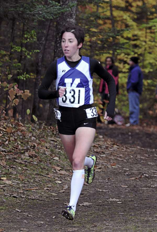 Abbey Leonardi, of Kennebunk High School runs Saturday, Oct. 29, 2011 during the Class A State Cross Country Championships at Twin Brooks Recreation Area in Cumberland, Maine. Leonardi won the 5000 meter race with a time of 18:27.19.