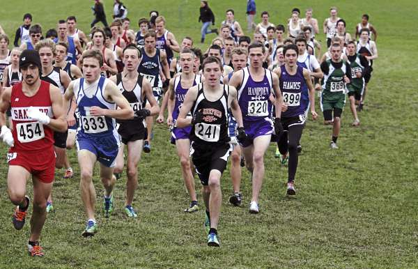 The Class A boys head out on the course Saturday, Oct. 29, 2011 during the State Cross Country Championships at Twin Brooks Recreation Area in Cumberland, Maine.