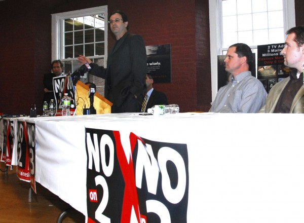 Carroll Conley, executive director of the Christian Civic League of Maine, speaks during a press conference in Biddeford on Oct. 27 organized by various groups opposing Questions 2 and 3 on the November ballot, which would OK racinos in Biddeford and Washington County and a casino in Lewiston.