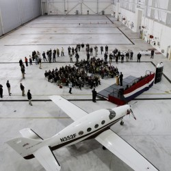 Remaining Kestrel officials show off innovative new plane at Brunswick facility