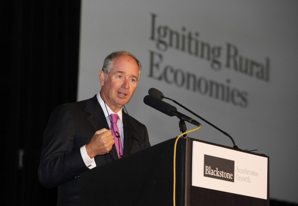 Stephen A. Schwarzman, chairman, CEO and co-founder of Blackstone, one of the world's top investment firms, speaks Friday, Oct. 7, 2011, at the unveiling of the Blackstone Accelerates Growth initiative at Brunswick Landing in Brunswick, Maine.