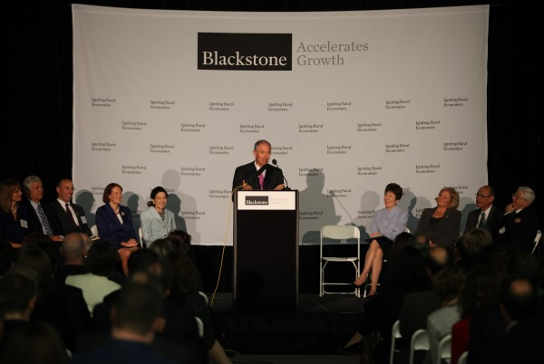 Stephen A. Schwarzman, chairman, CEO and co-founder of Blackstone, one of the world's top investment firms, speaks Friday, Oct. 7, 2011, at the  unveiling of the Blackstone Accelerates Growth initiative at Brunswick Landing in Brunswick.