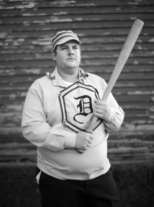 Dirigo vintage base ball player Jacob Newcomb of Bath poses after a game in New Gloucester.