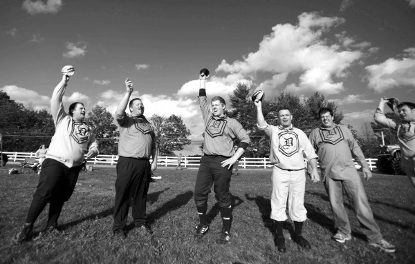 Dirigo vintage base ball players salute their opponents at the end of a game held earlier this month at the New Gloucester Community Fair.