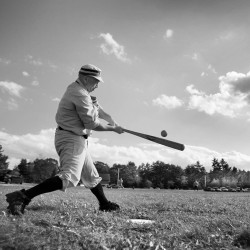 Bob Hubbard connects in a game of vintage base ball held earlier this month in New Gloucester.