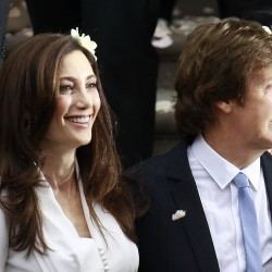 Former Beatle Sir Paul McCartney and his wife, American heiress Nancy Shevell, leave Marylebone Registry Office after their wedding in central London, Sunday Oct. 9, 2011.  Shevell, 51, is McCartney's third wife.