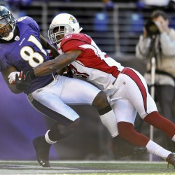 Arizona Cardinals defensive back Richard Marshall, right, knocks a pass put of the reach of Baltimore Ravens wide receiver Anquan Boldin (81) during the second half of an NFL football game in Baltimore on Sunday, Oct. 30, 2011.