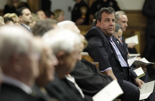 New Jersey Gov. Chris Christie (center right) attends the swearing in of Donna Gallucio as New Jersey Superior Court judge, Monday, Oct. 3, 2011, in N.J.