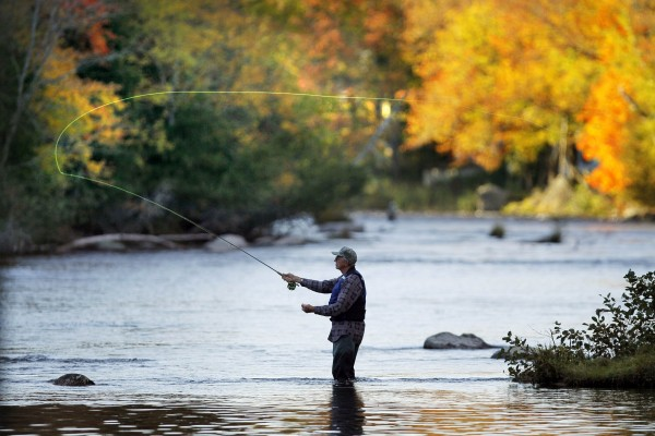 Kit Kerrigan, 75, of Swanville casts his fly from Gowdy Point on Grand Lake Stream.