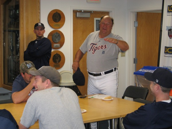 Former major leaguer and longtime coach Jon Warden provides some humorous observations Saturday morning's breakfast gathering at the University of Maine Baseball Fantasy Camp at Palmer Lounge in the Mahaney Clubhouse. More than 40 local baseball aficionados turned out for the three-day event at Mahaney Diamond.