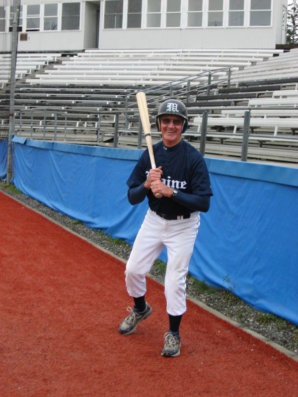 Skip Gordon of St. Albans takes some warmup swings prior to an at-bat Sunday during the University of Maine Baseball Fantasy Camp at Mahaney Diamond in Orono. The 73-year-old inspired his peers with his skill and competitive spirit.