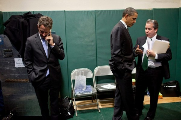 President Obama with his economic adviser Gene Sperling, right, and Treasury Secretary Timothy Geithner at a February small-business forum in Cleveland.