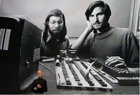 Steve Jobs (right) and Steve Wozniak in an undated photo.