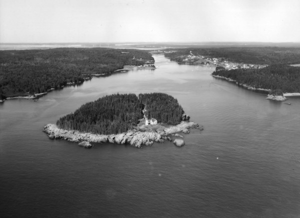 This aerial image, taken in 1972, shows the remoteness of Little River Lighthouse and the 15-acre island which is home to the historic light station offshore from Cutler.