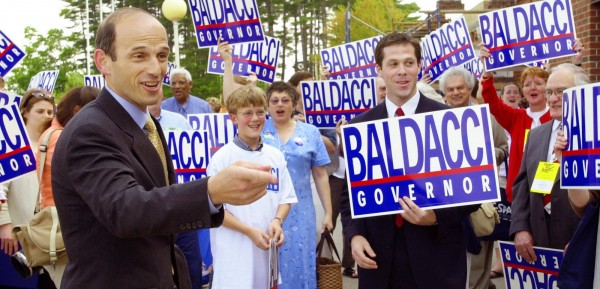 Democratic gubernatorial candidate John Baldacci jokes with supporters outside the Maine Democratic state convention on June 1, 2002, in Augusta. The 2002 race was Maine's first in which candidates received public funds for their campaigns under the state's Clean Election Act.
