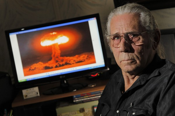 Marine veteran James D. Tyler of Burleson, Texas, witnessed an atmospheric atomic bomb test in Nevada on July 5, 1957, but he receives no benefits despite his exposure to the blast and radiation.