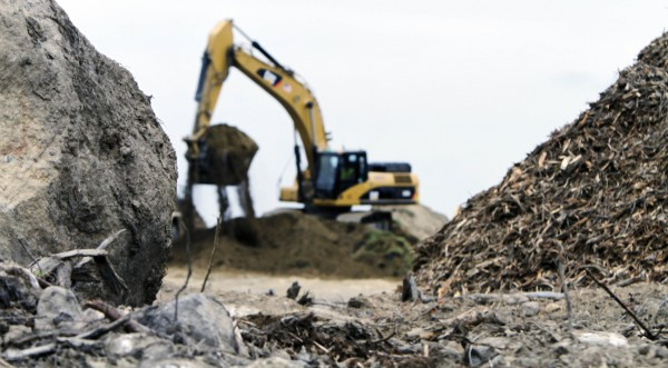 Soil is moved at the location where a new casino is being built in Oxford in July 2011.