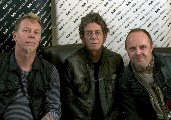 Metallica members James Hetfield (left) and Lars Ulrich (right) pose with musician Lou Reed in New York on Oct. 24, 2011. Metallica and Reed teamed up for Reed's latest release, &quotLulu.&quot