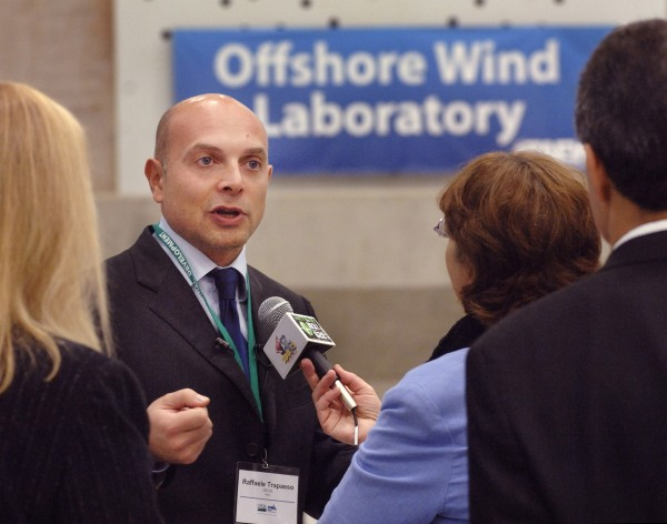 Rafaelle Trapasso of Italy speaks to the media Tuesday at the new wind turbine design facility at the University of Maine.