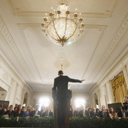 President Barack Obama gestures during a news conference in the East Room of the White House in Washington, Thursday, Oct. 6, 2011.