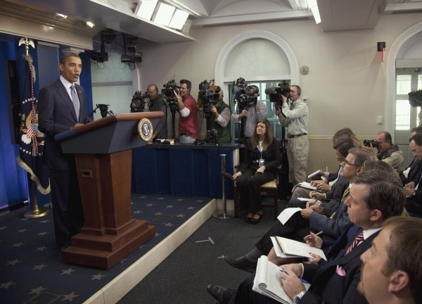 President Barack Obama speaks in the briefing room of the White House in Washington, Friday, Oct. 21, 2011, where he declared an end to the Iraq war, one of the longest and most divisive conflicts in U.S. history, announcing that all U.S. troops would be withdrawn from the country by year's end.