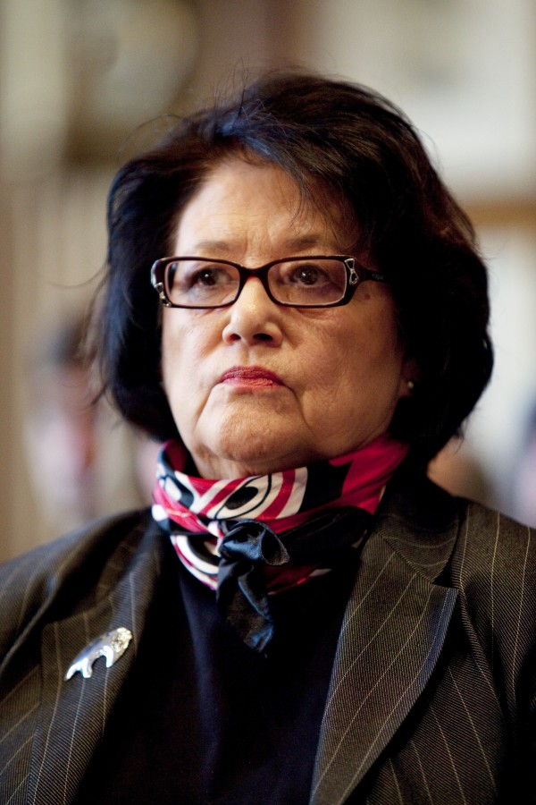 In a Dec. 17, 2009, file photo, Elouise Cobell watches a Senate Indian Affairs Committee hearing on the multi-billion dollar Cobell v Salazar law suit regarding decades of mismanagement of Indian lands in Washington.  A spokesman for  Cobell says the Blackfeet woman has died. She was 65.