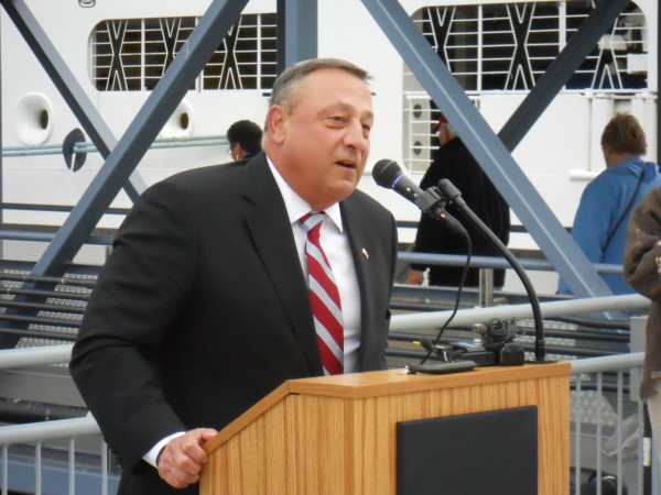 Gov. Paul LePage delivers a speech Wednesday during a ceremonial ribbon cutting to open Portland's Ocean Gateway Pier II, sometimes colloquially called the city's &quotmegaberth.&quot