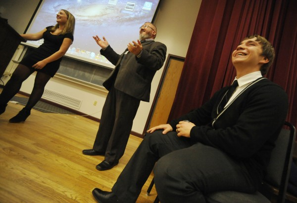 Alexey Mikhailov (center), head of the Department of Public Relations for the Siberian State Aerospace University, addressed the Husson University community Oct. 26, 2011. He was faciltated by one of his students and interpreter Tatyana Demenishnia (left) and one of his former students and interpreter Yury Nabokov (right), who is now a senior at the New England School of Communications.