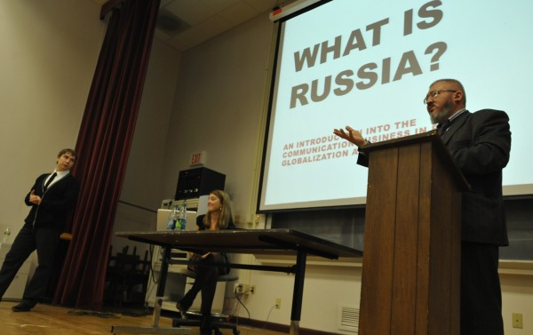 Alexey Mikhailov, head of the Department of Public Relations for the Siberian State Aerospace University, addressed the Husson University community Wednesday afternoon, Oct. 26, 2011.