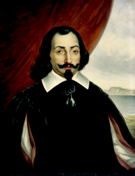 &quotFictional&quot portrait of Samuel de Champlain, by Théophile Hamel, 1817-1870. Probably painted in the 1860s. From the Collection of the Governor General of Canada, La Citadelle, Quebec.