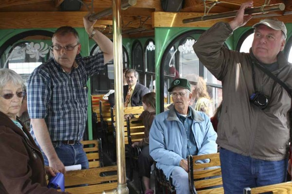 Nearly 30 passengers on Sept. 22 enjoyed the inaugural ride around Presque Isle aboard the Presque Isle Historical Society's new tour vehicle, Molly the Trolley. The trolley will be used for historical tours and other purposes.