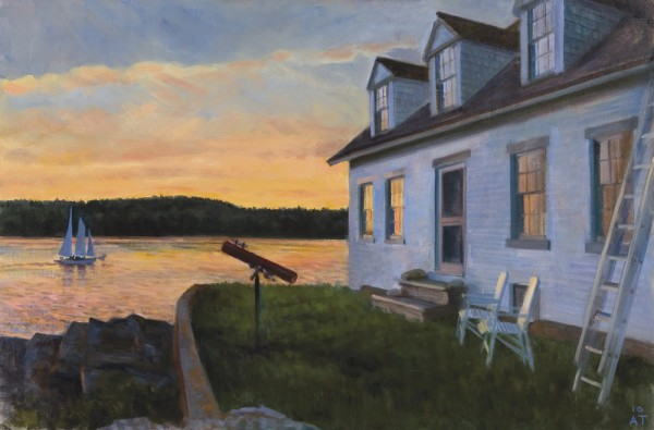The artwork of Alexandra Tyng, including this one titled &quotBoat Sailing in Sunset,&quot is now on display in Maine's Capitol Complex as part of the Maine Arts Commission's Arts in the Capitol program.