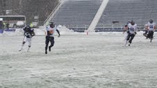 The University of Maine football team overcame snowy conditions Saturday afternoon to post a 41-25 Colonial Athletic Association football victory over Villanova at Villanova, Pa.